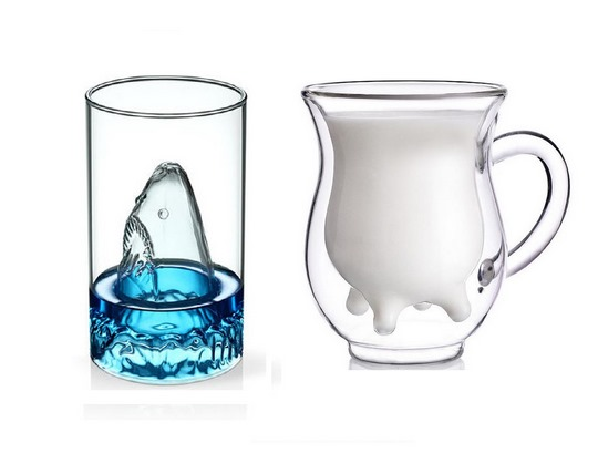 glasses-and-pitcher-duo-in-two-cow-and-shark-designs