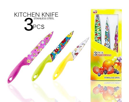 چاقو سرامیکی گلدار 3 تکه Kitchen Knife