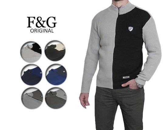 سوییشرت بافت جلو زیپ دار F&G