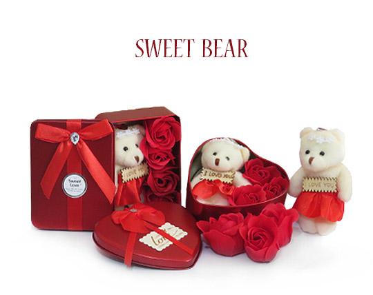 پکیج کادویی خرس و گل صابونی SWEET BEAR