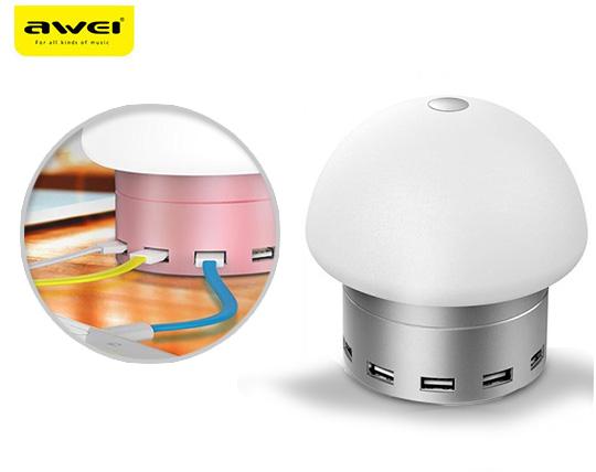 چراغ LED لمسی و هاب شارژ  Awei C910