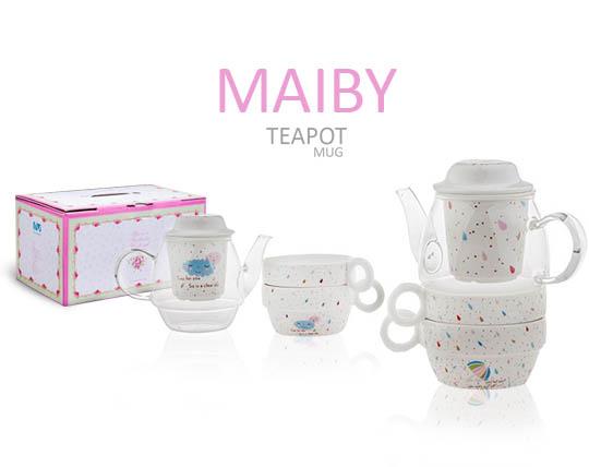 قوری و فنجان دمنوش و چای ساز MAIBY