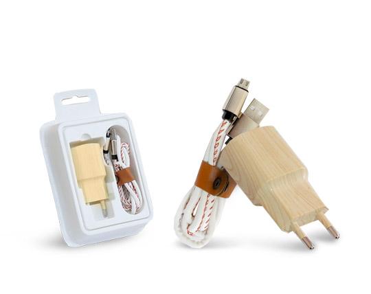 پکیج کلگی و کابل شارژ اندروید طرح wood
