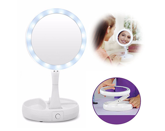 آینه آرایشی چراغ دار با قابلیت بزرگنمایی