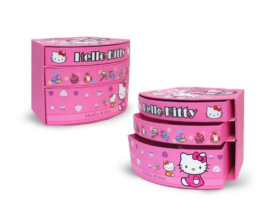 جعبه زیورآلات 3 طبقه طرح Hello Kitty