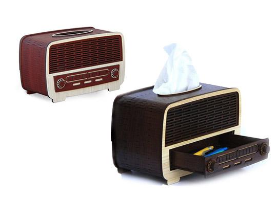 جعبه دستمال کاغذی چوبی طرح رادیو